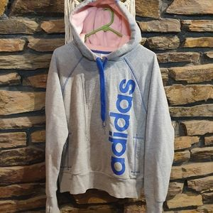 Size S Adidas grey and pink hooded jumper